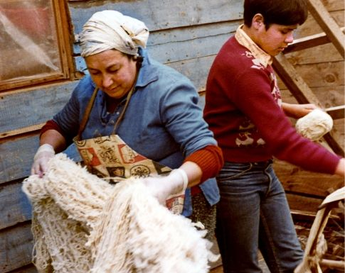 A woman is holding yarn fibers as a boy attaches yarn to a spinning wheel