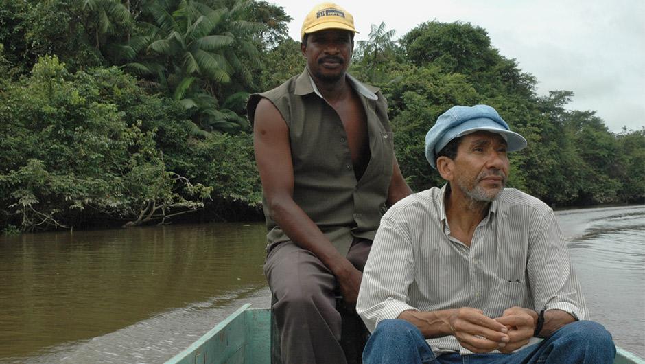 Juan Garcia travels in a canoe.