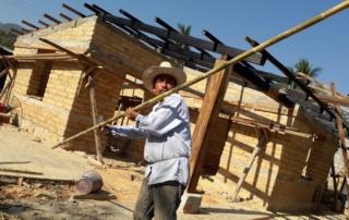 A Mexican man rebuilds a home