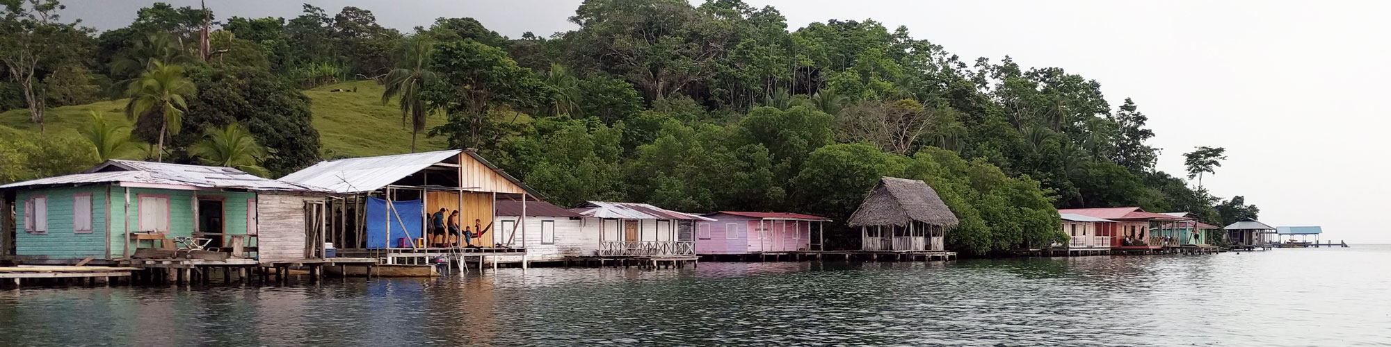 Fishing families' cottages in Bocas del Toro, Panama.