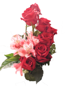 A bouquet of red roses and pink Peruvian lilies.