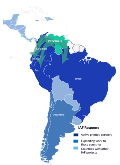 A map of South America shows that IAF grantees are currently working with Venezuelan migrants in Colombia, Ecuador, Peru, and Brazil. It also shows two countries where the IAF is starting to fund projects supporting Venezuelan migrants: Chile and Argentina.