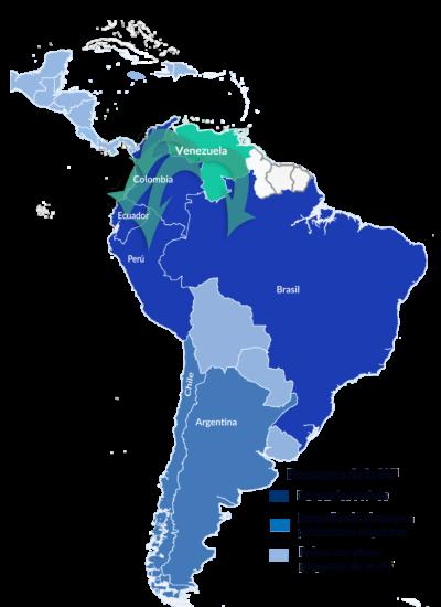 Un mapa de América del Sur muestra que los donatarios de la IAF están trabajando actualmente con migrantes venezolanos en Colombia, Ecuador, Perú y Brasil. También muestra dos países donde la IAF está comenzando a financiar proyectos de apoyo a los migrantes venezolanos: Chile y Argentina.