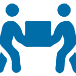 Icon showing two people working together to move a box