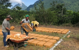 A group of men shape bricks to be used for construction.