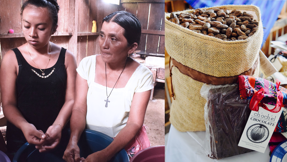 An young girl and an older woman sort cacao beans. In a separate photo, A bag of cacao beans rest next to Ch'och'el brand processed chocolate.