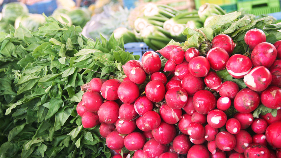 Vibrant radishes in a pile
