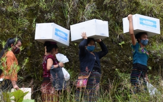 Four young Guatemalan women wearing masks carry boxes on a road lined with thick vegetation.