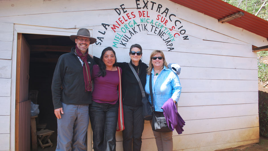 Azucena Diaz poses with other IAF staff members outside while visiting grantees in Mexico